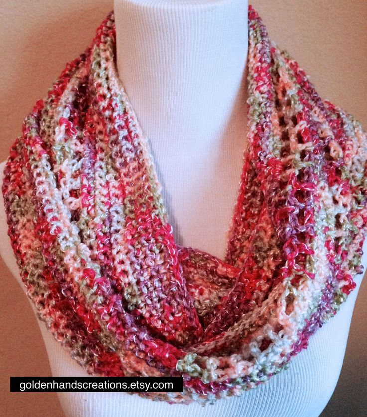 Textured Multicolored Crochet Infinity Cowl Scarf Pattern ...