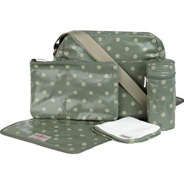 Our new shape changing bag in our classic Spot print contains everything you need for a day out with baby. Includes changing mat, bottle insulator, baby flannel and large zip pouch, perfect for storing dummies, baby wipes and other bits and bobs. A fabulous gift for a new mother.