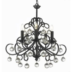 """BELLORA CRYSTAL WROUGHT IRON CHANDELIER CHANDELIERS LIGHTING WITH CRYSTAL BALLS H 22"""" W 20"""" Amazon $186"""
