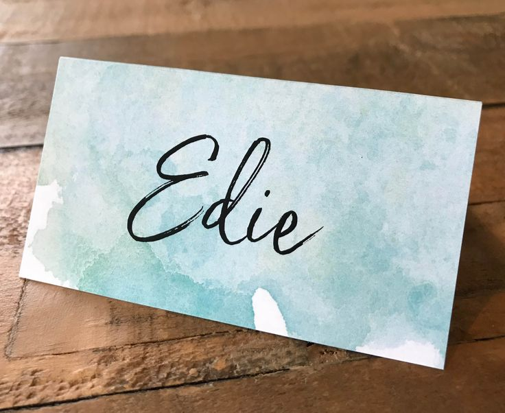 A gorgeous set of blue | aqua | turquoise watercolour | watercolour place cards | tent cards | escort cards with a stunning script font. Colour can be changed if required.