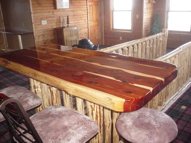 K And A Log Furniture Red Cedar Bar Top Wood Joinery