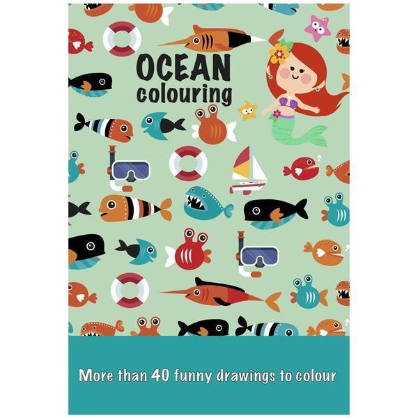 Fin Colours By Cph malebog fyldt med mere end 40 søde, sjove og barnlige motiver til farvelægning. Malebogen har havtema med blæksprutter, søstjerner, havfruer,