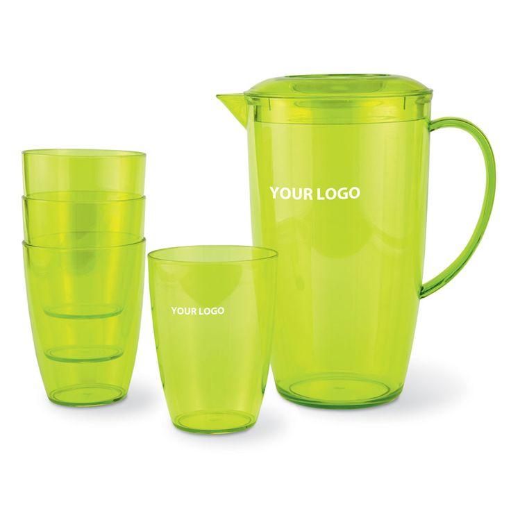 #Caraffa e bicchieri personalizzati con il tuo logo.  Set composto da caraffa e 4 bicchieri in PS traslucido. I bicchieri sono contenuti nella caraffa.  #gadget #cucina #cocktail