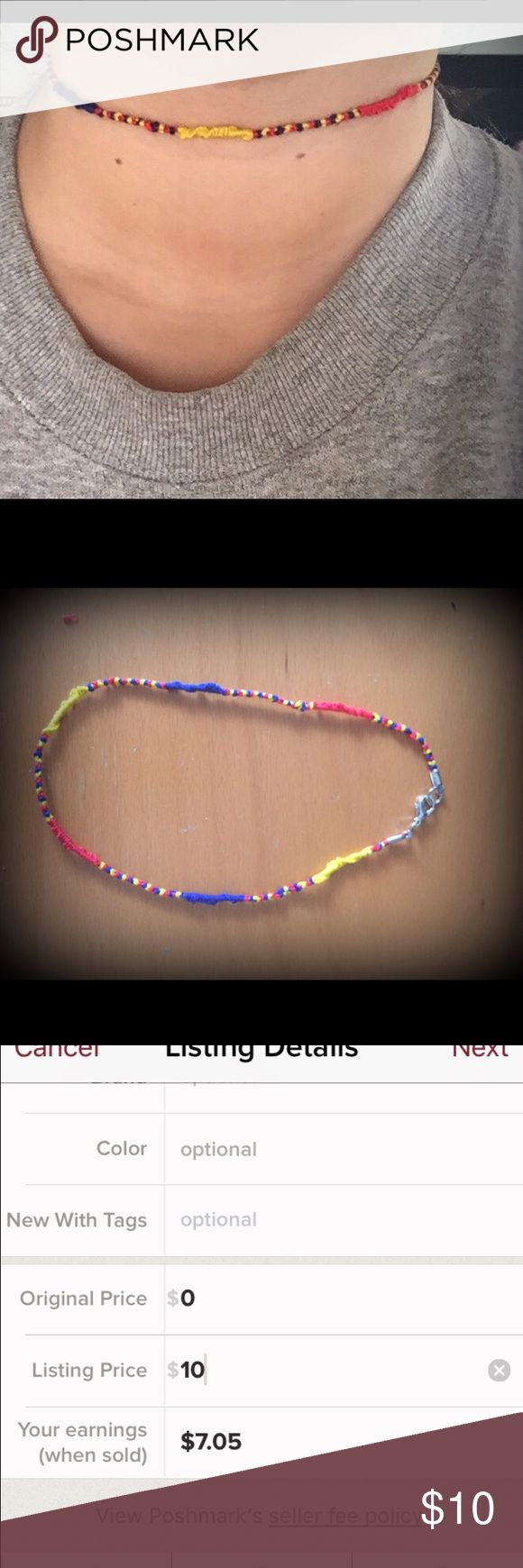 CHOKER I MADE: friendship necklace blue yellow red CHOKER I MADE: friendship necklace in blue yellow and red. If you have any questions let me know. I AM A FAST SHIPPER . Go check out my closet I have more CHOKERS in different colors and styles. Jewelry Necklaces
