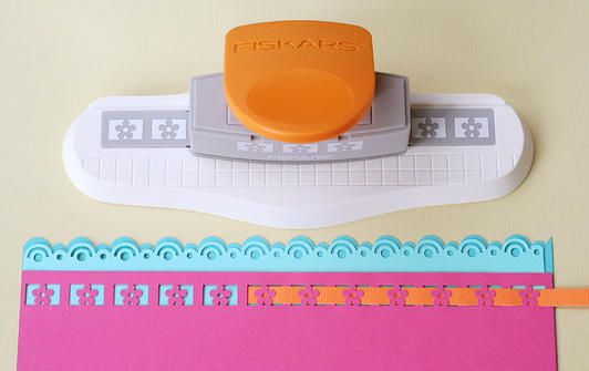 Thread two border punches together for a dimensional & unique look! www.fiskars.com