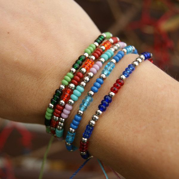 Friendship Bracelets – Beads- choose colors – a unique product by SheAndHe on DaWanda