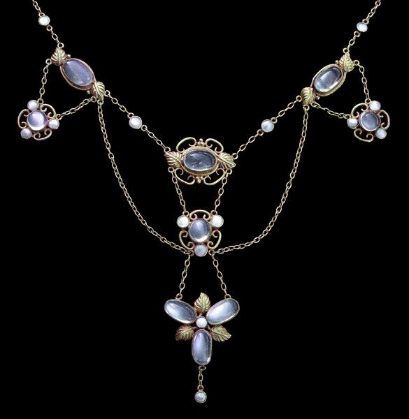 Arts and CraftsNecklace, Gilded silver, Moonstone, & Pearl;British, c.1900