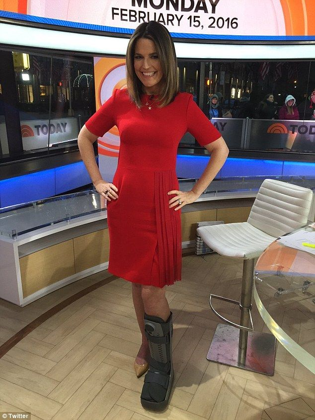 Savannah Guthrie shows off large boot after spraining her ...