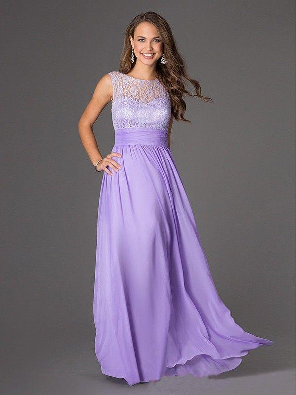 A-Line/Princess Scoop Sleeveless Lace Chiffon Floor-Length Dresses