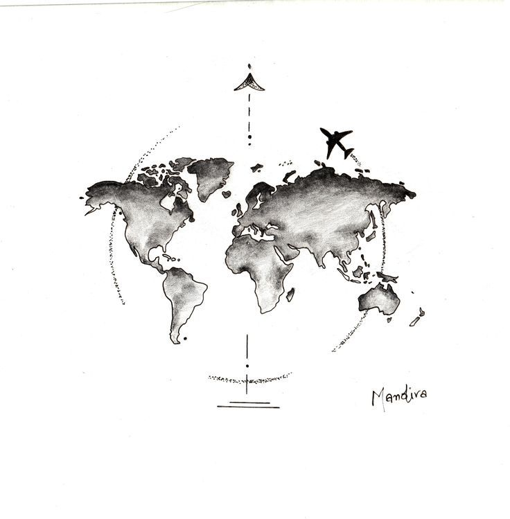 Globe world map with plane tattoo design by Mandir…