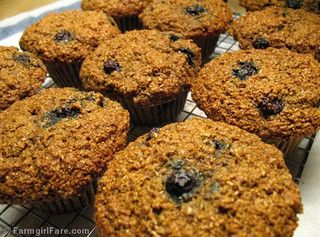 100% whole grain blueberry bran muffins made without processed sugar and bran cereal by Farmgirl Susan, via Flickr