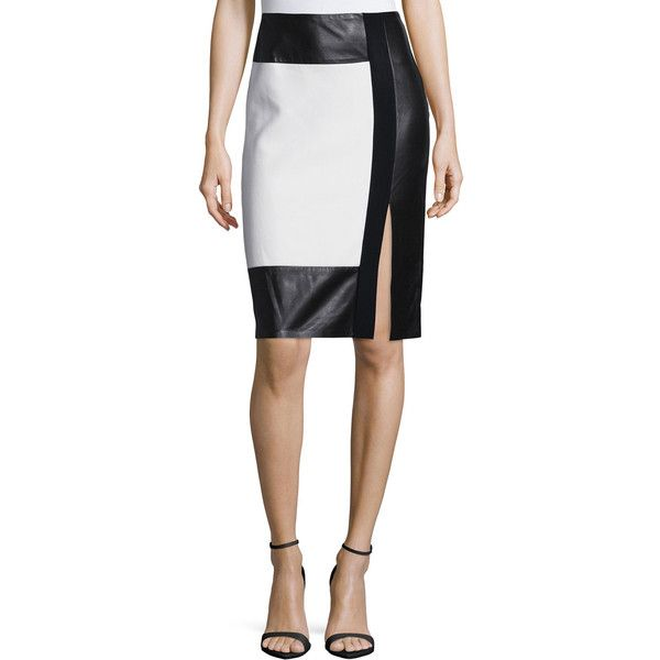 Ralph Lauren Colorblock Leather-Inset Pencil Skirt (6,145 AED) ❤ liked on Polyvore featuring skirts, front slit skirt, white knee length pencil skirt, white skirt, white leather skirt and leather skirt