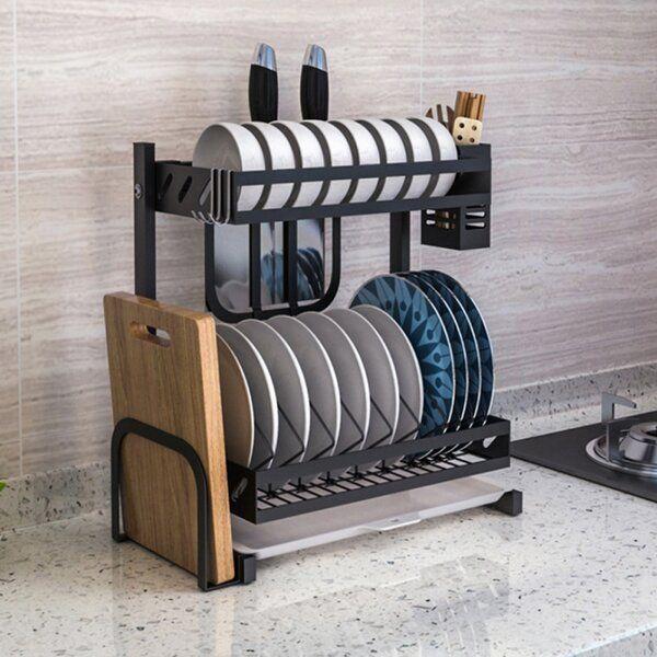 Stainless Steel 2 Tier Dish Rack Drying Rack Kitchen Dish Rack