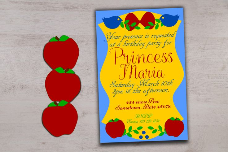 Printable princess birthday invitation, custom fairy tale b day invite, inspired by, snow white party, girl birthday theme, first birthday by CamCreativeDesign on Etsy https://www.etsy.com/listing/265682150/printable-princess-birthday-invitation