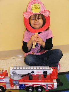 Cute Fireman's hat craft - along with a book about firefighter's, this would make a fun Friday tot's homeschool activity for Monkey.