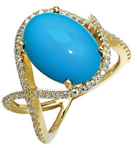 Ring in 18k gold, turquoise, and diamonds
