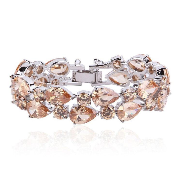 Multilayer Champagne CZ Platinum Plated Bracelet