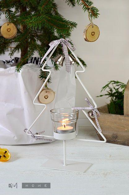 White Metal Tree with tea light holder- Christmas Decoration www.em-home.co.uk
