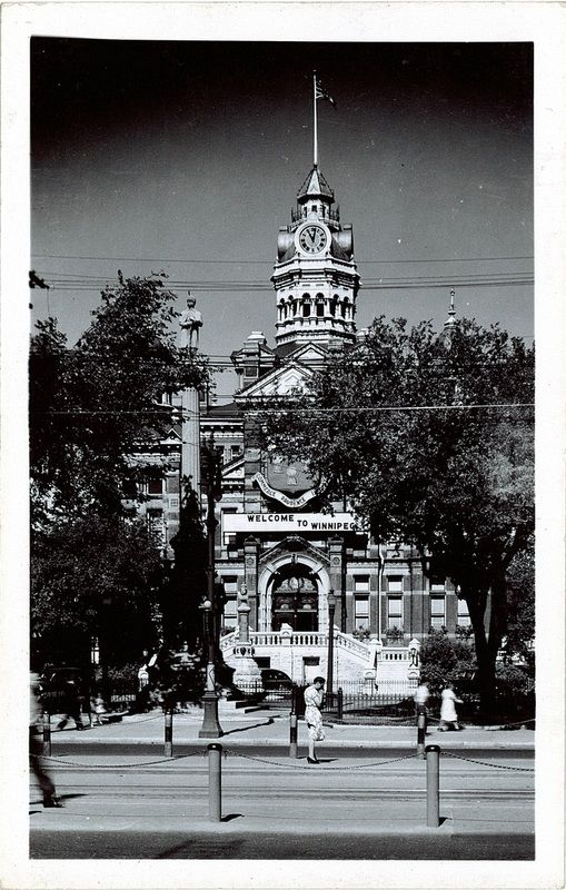 City Hall, ca. 1910--  Peel's Prairie Provinces, a digital initiative of the University of Alberta Libraries  Winnipeg's second city hall building stood from 1886 to 1962. The building was ornamented in turrets, stone and brick in the Victorian style, perfectly capturing the richness of the romantic era.