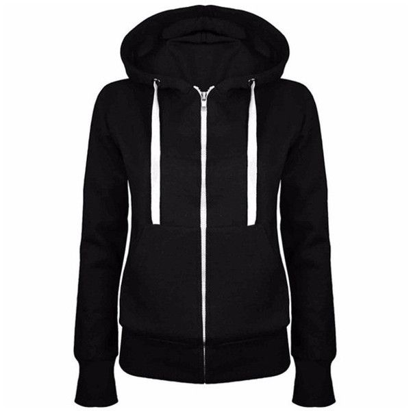 Women's Wowens Zip Up Sweatshirt Hooded Hoodie Coat Jacket Top ($8.99) ❤ liked on Polyvore featuring tops, hoodies, black, zip up hoodie, hooded zip up sweatshirt, hooded top, hooded pullover and hoodie top