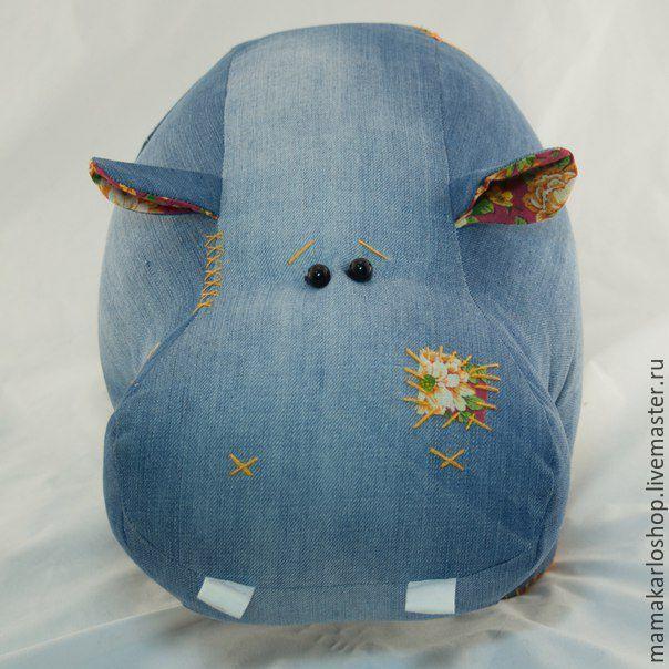 Купить Бегемот джинсовый - синий, джинсовая игрушка, игрушки из джинсы, бегемот, бегемот из джинсы