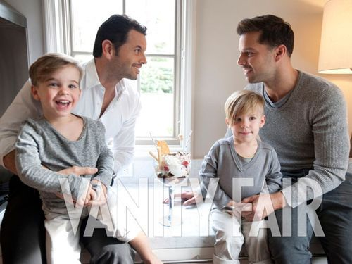 Ricky Martin's partner Carlos joins him and his children for a photo shoot for the first time. Vanity Fair Spain. April 2012.