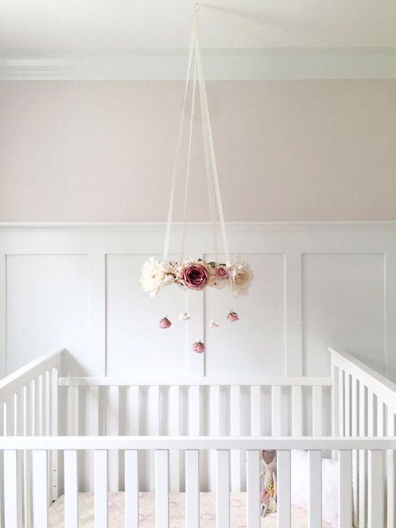 Mauve & blush nursery flower mobile, crib mobile, baby girl mobile, pink baby…