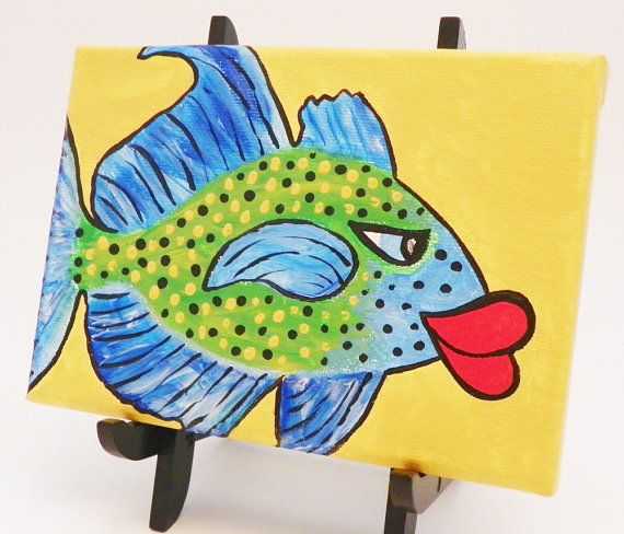 Original Art Fish Painting Bluefin Trevaly Acrylic by JudyBFreeman (Art & Collectibles, Painting, acrylic painting, whimsical fish, fish painting, judy b freeman, reef fish, 7 x 5 inches, original art, painting, black, yellow, blue, green, red)