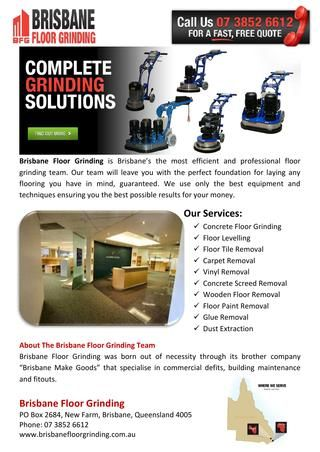Brisbane Floor Grinding - Brisbane Floor Grinding is Brisbane's the most efficient and professional floor grinding team.  http://issuu.com/brisbanefloor/docs/brisbane_floor_grinding_2aa55b0bd42924