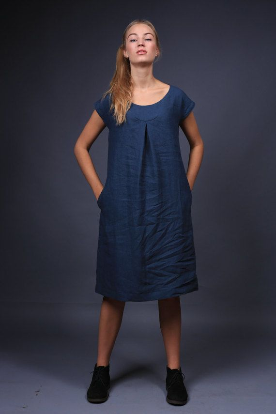 Linen dress. Simple Casual organic linen clothing. by LinenCloud