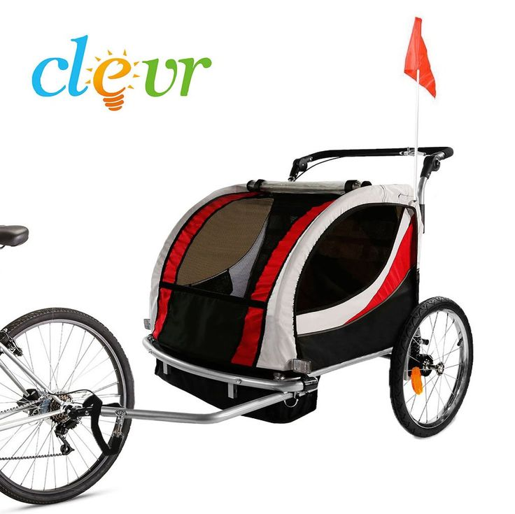Clevr Deluxe 2 Child Bicycle Trailer Baby Bike Kid Jogger