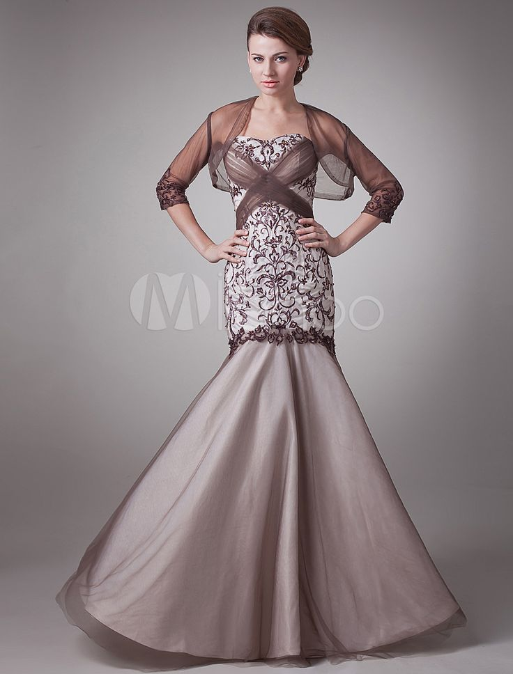 Brown Mermaid Sweetheart Embroidered Satin Mother of the Bride Dress