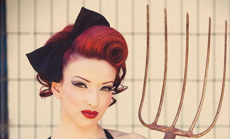 Vintage Updo Pinup Swirl Hair Tutorial Mobile Accessible, via YouTube.