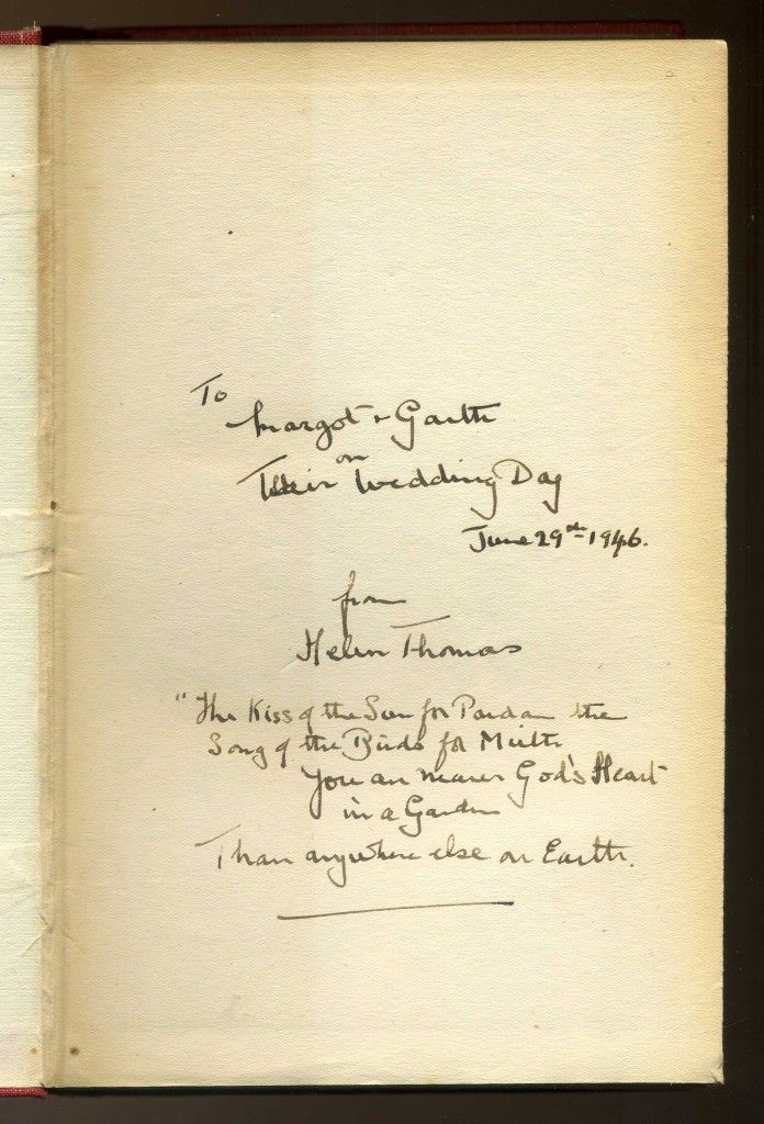 Home and Garden - signed by Helen Thomas, widow of Edward