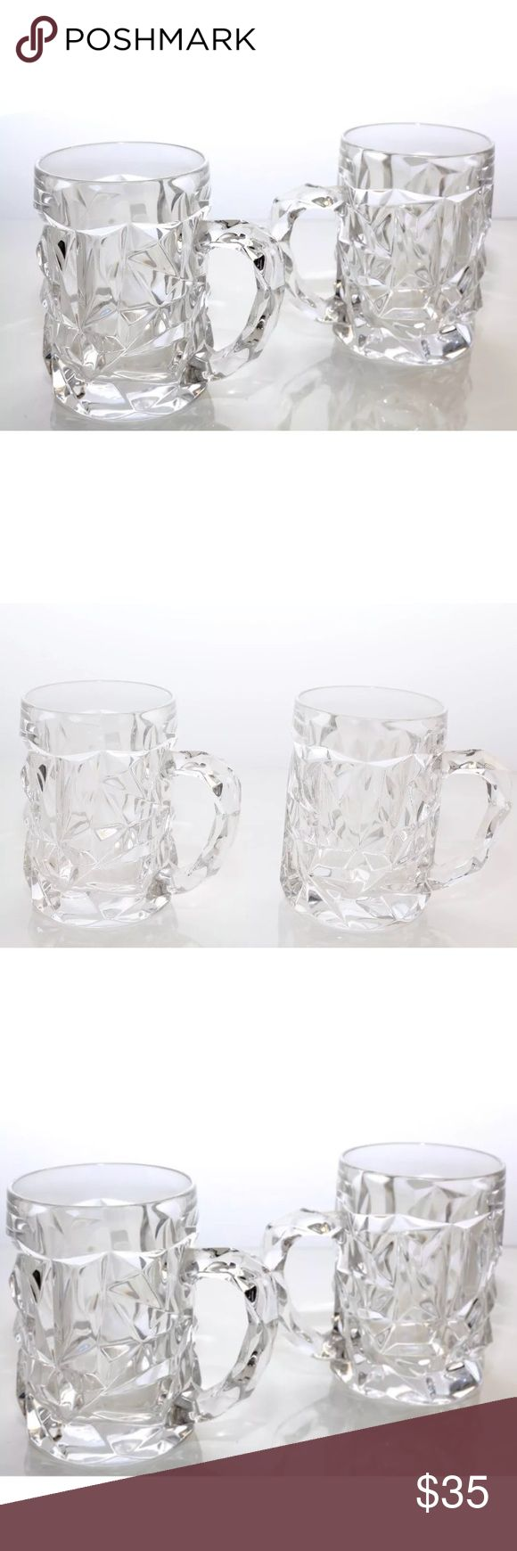 """ROCKWELL 3D CUT  2 Beer Glass Mugs Thick Handle ROCKWELL 3D CUT  2 Beer Glass Mugs Thick Beverage Clear Glassware With Handle  Condition: No cracks/ chips - in beautiful condition, used. Cool modern artistic 3D Diamond like cuts.  Measures: 5"""" Height x 3.5"""" Diameter Rockwell Other"""
