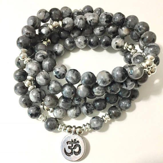 Labradorite Wrap Bracelet 108 Mala Yoga Bracelet or Necklace