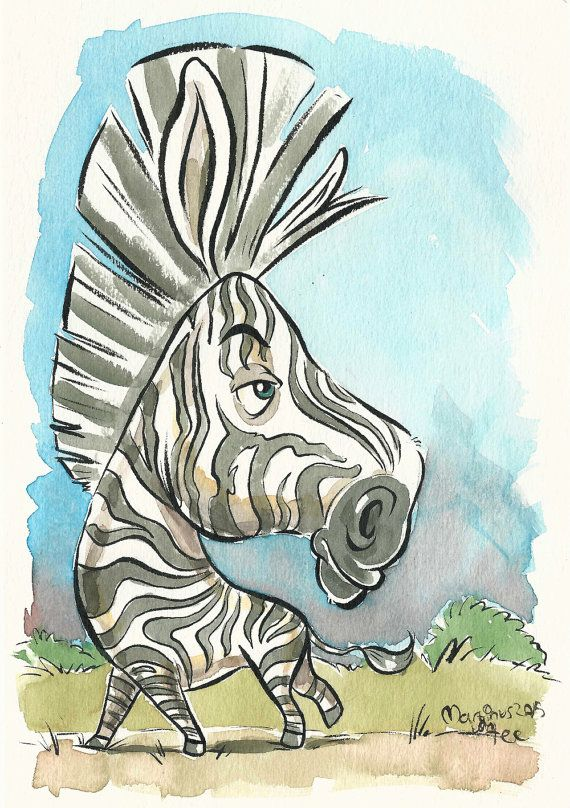 Zebra original watercolor painting, african animals art by #TerrapinAndToad