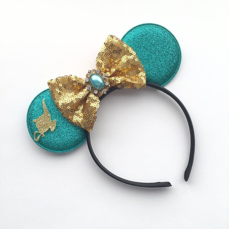 "These adorable Princess Jasmine inspired Minnie Mouse ears are the perfect accessories to your next vacation trip or birthday celebration to the ""happiness place on earth"" ** Please do not leave your"