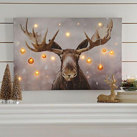 holiday moose led canvas art print kirklands rustic christmas christmas art christmas paintings - Christmas Moose Home Decor