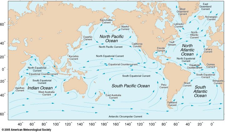 ocean currents | the Earth's oceans with major gyres labeled. Follow gyres link for ...
