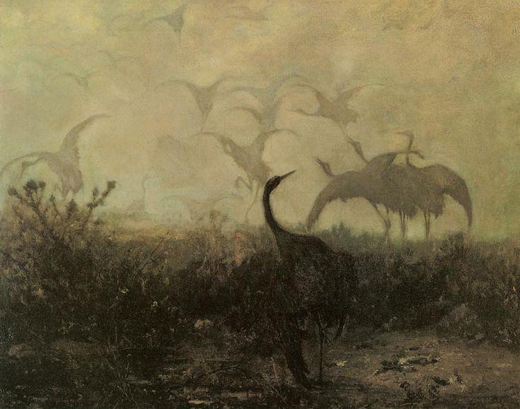 """Józef Chełmoński """"Żurawie"""", 1870, olej na płótnie, 44,2 x 57,8 cm, Muzeum Narodowe, Kraków"""