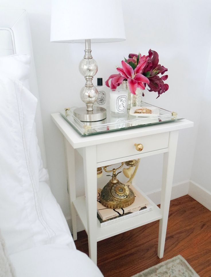 DIY: IKEA hack nightstand, modern minimal glam apartment decor