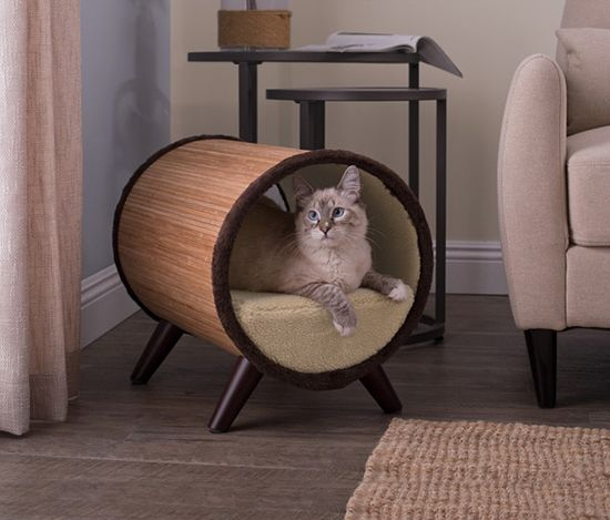 This tubular cat bed by Studio Designs is an attractive piece of cat furniture with a modern look.