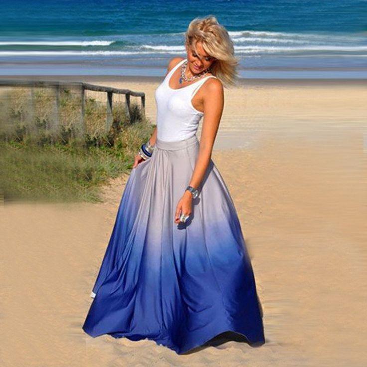 Gradient High Waist Long Pleated Skirt
