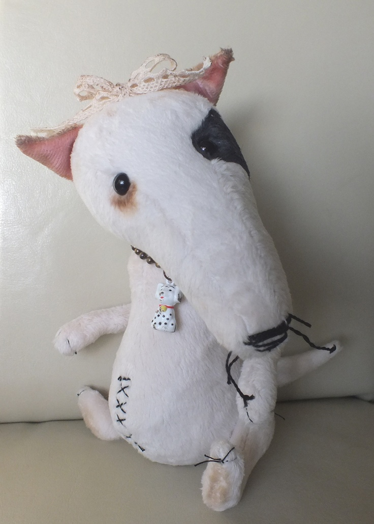 Daphne - a naughty bull terrier in faux fur by A CURIOUS WHIM for Ragtail 'n' Tickle.