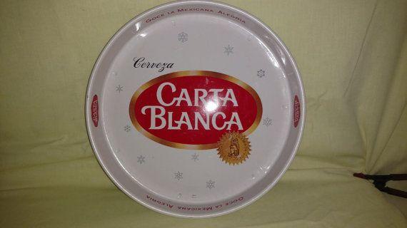 Vintage Cerveza CARTA BLANCA Metal Tray MEXICAN by SandysScores