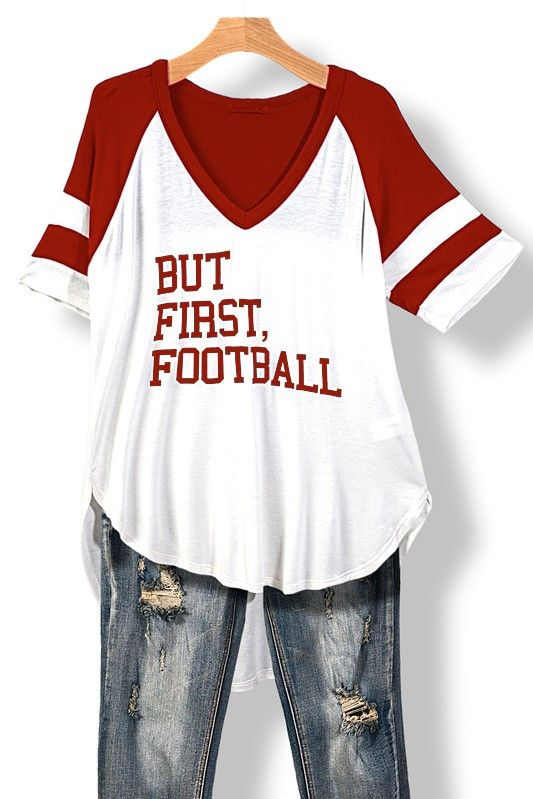 New arrival! Football Hi Lo V Neck Tee Buy it here now http://www.rkcollections.com/products/football-hi-lo-v-neck-tee