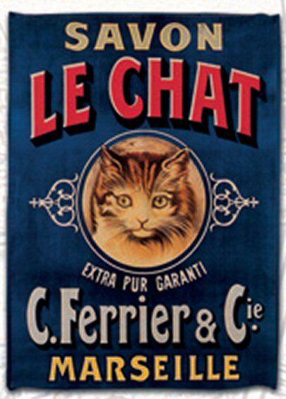 torchon de cuisine 45x65 cm pub retro savon le chat de marseille affiches tous genres. Black Bedroom Furniture Sets. Home Design Ideas
