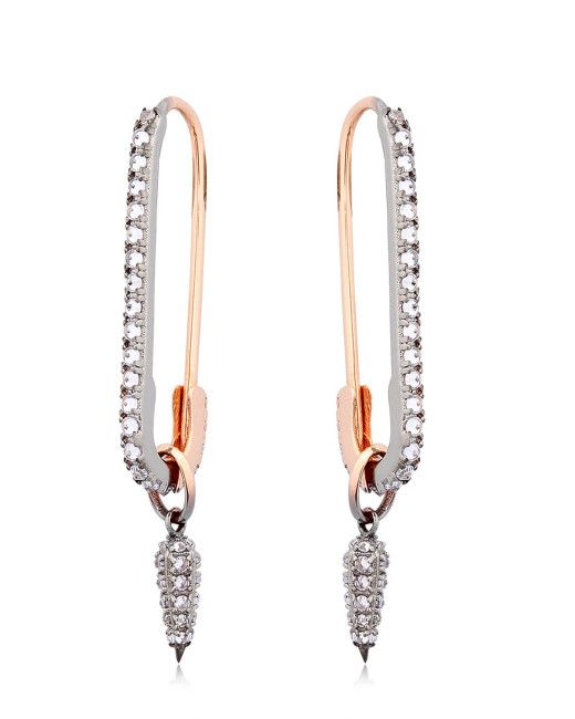 Katie Rowland | Metallic Safety Pin Drop Earrings | Lyst