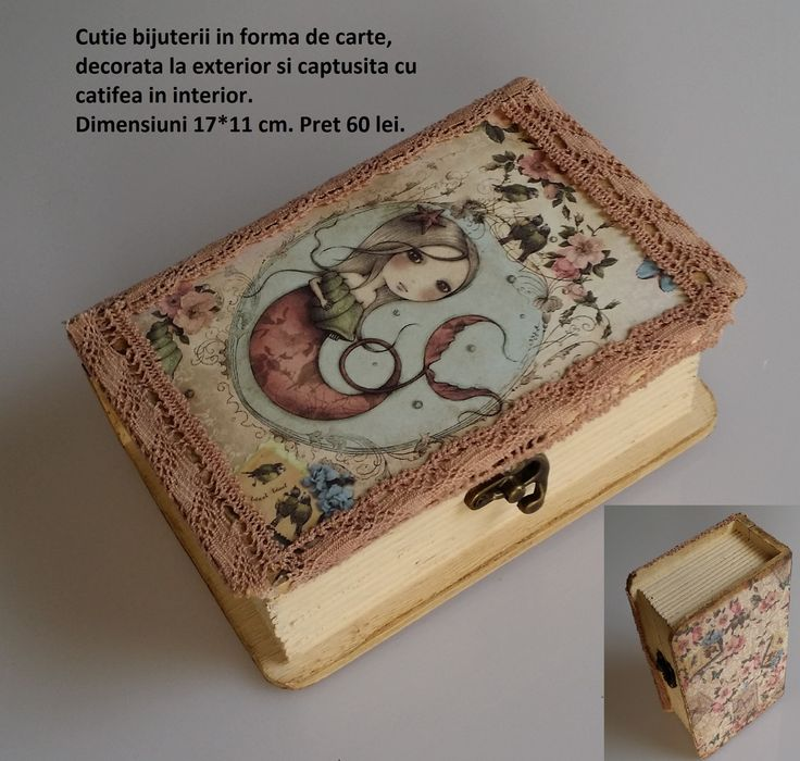 Jewelry box shaped as a book, wood, handmade project based on Santoro's Mirabelle.